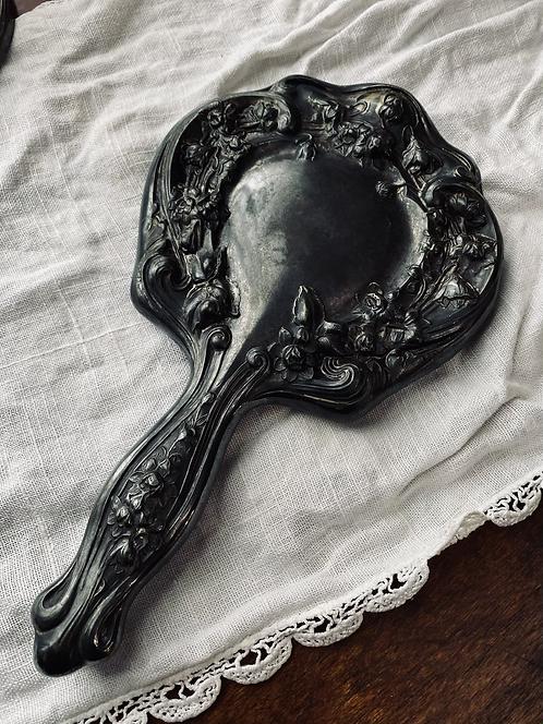 Floral silver mirror