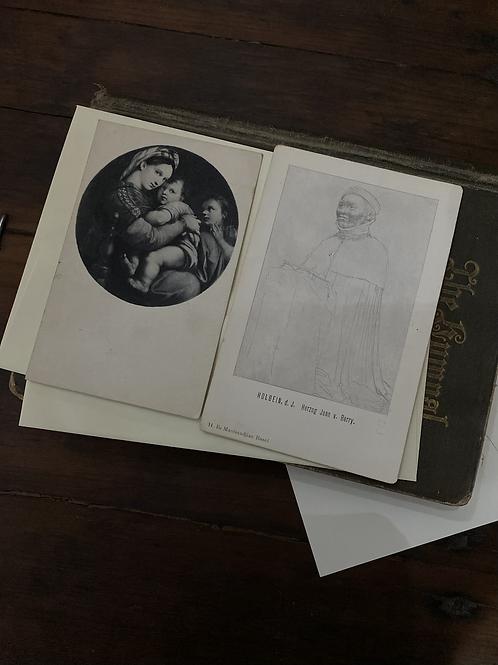 Vintage postcard set, sketch