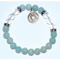 Amazonite/Quartz Bracelet with Chinese Coin