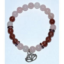 Rose Quartz & Strawberry Quartz with Lotus Charm