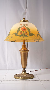 1920s Table Lamp With Reverse Painted Glass Shade