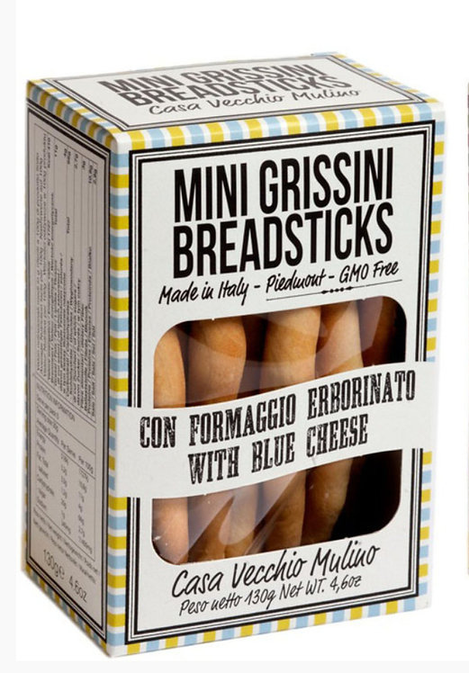 Mini Italian Grissini Breadsticks with Blue Cheese