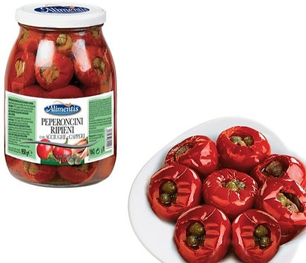 Hot Peppers Filled with Anchovies & Cappers - Gluten Free - ALIMENTIS - 950 gr