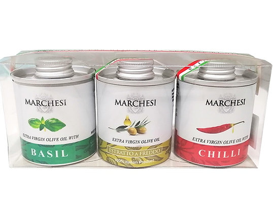 Set 3 Tins - Extra Virgin Olive Oils Assorted Flavors - each 100ml