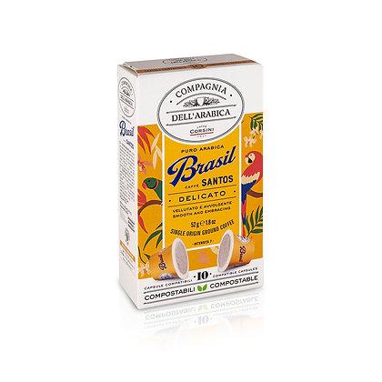 Brasil Santos Pure Arabica Coffee - 10 Compostable Capsule