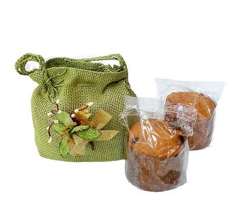Set of 2 Panettone Milano 80 gr in Juta Gift Bag