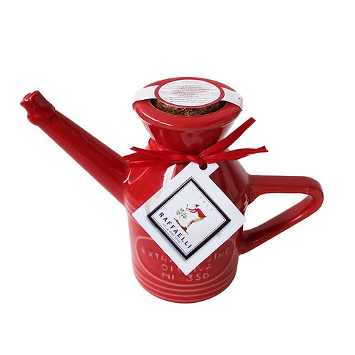 Extra Virgin Olive Oil in Fancy Ceramic Dispenser 350ml (Red)