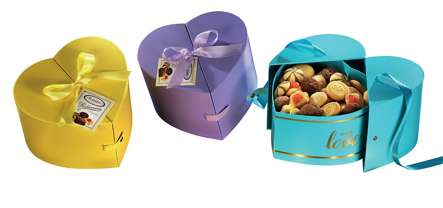 """The """" Heart  """" shaped cases with satin ribbon filled with Tea Biscuits"""