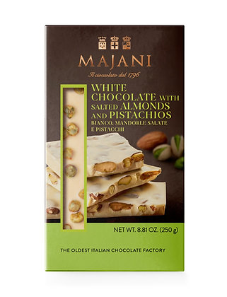 SNAPS White Chocolate with salted Almonds and Pistachios 250gr
