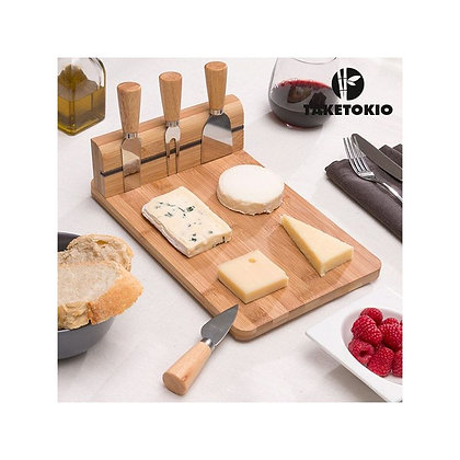 Wooden Bamboo Set for Cheeses with 3 knives