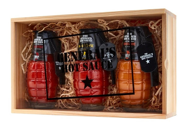 3 Pack Set The General's Hot Sauce in Gift Wood Box
