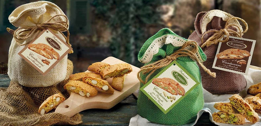 """Traditional speciality  """" Cantuccini """" cookies in pretty juta bags with laces."""