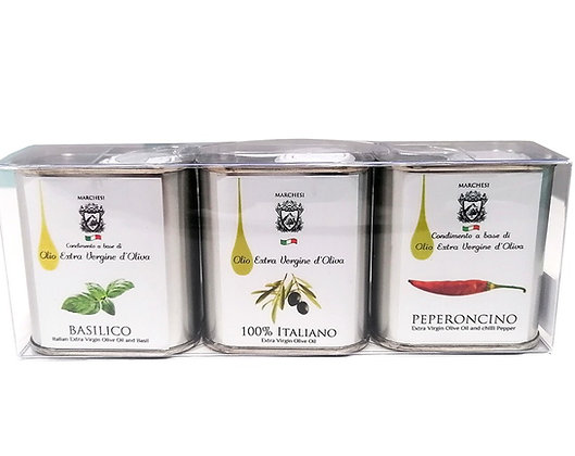 Set 3 Tins - Extra Virgin Olive Oil Assorted Flavors - 150ml each