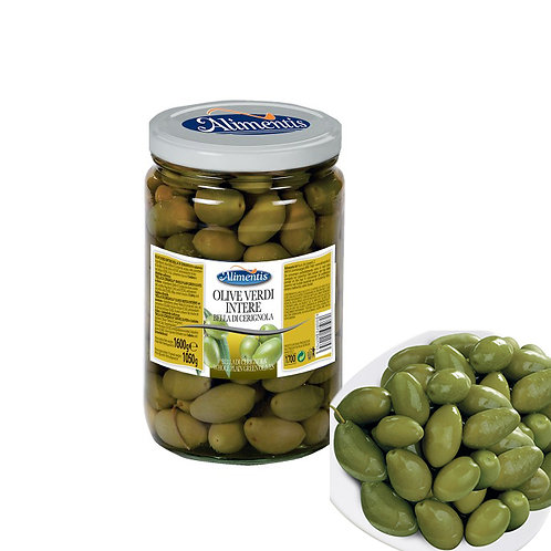 "Whole Plain Green Olives in Brine ""Bella di Cerignola"" - 1.6 kg"