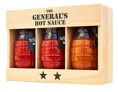 The General's Hot Sauces - Set of 3 Bottles (Dead Red, Danger Close, Shock Awe)