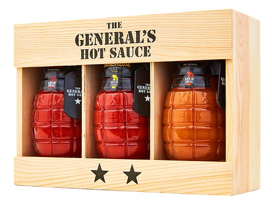 The General's Hot Sauces - Set of 3 Bottles (Dead Red, Danger Close, Shock Awe)