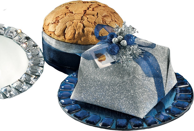 Gourmet Sugar Iced Panettone with Luxury Glass Plate - 750g