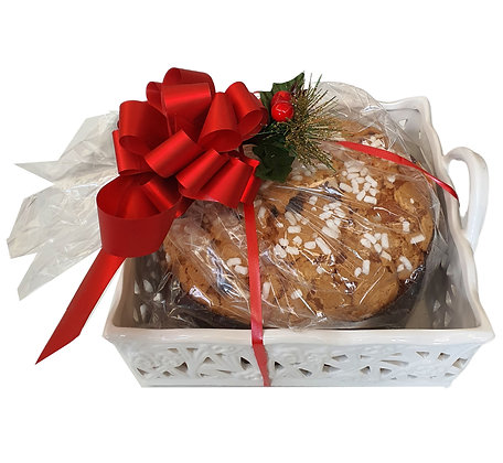 Sugar Iced Flamigni Panettone in Ceramic Gift Basket with Handle