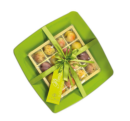 Le Primizie - Marzipan Fruits in Glass Gift Plate - 430gr