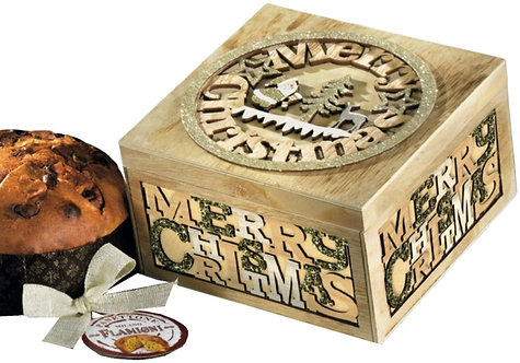 Panettone Flamigni with Luxury Wooden Santa Carved Box