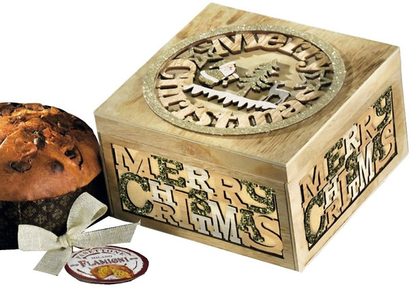 Panettone Flamigni with Luxury Carved Merry Christmas Box