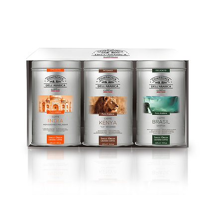 GIFT SET 3 ASSORTED 125GR TINS OF GROUND ARABICA COFFEE
