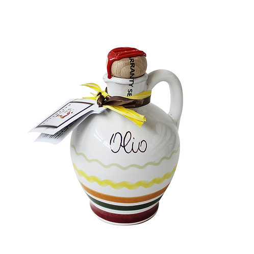 Extra Virgin Olive Oil in Painted Clay Jars Assorted Colours 250ml