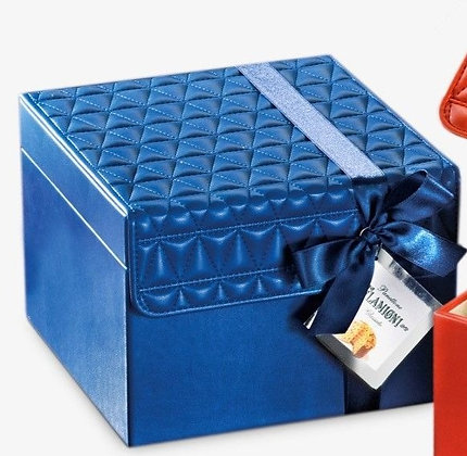 Gourmet Panettone in Blue Leatherette Gift Box