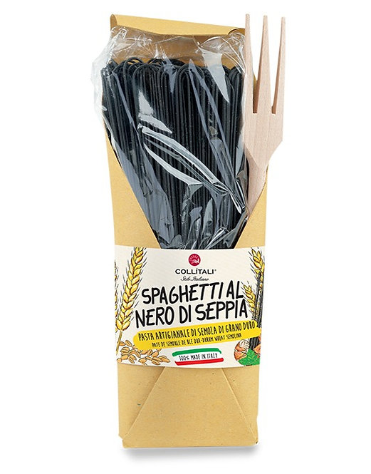Spaghetti Black Squid with Wooden Fork for Pasta 500gr