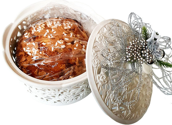 Flamigni Italian Luxury Glazed Panettone in Ceramic Embroidered Pot 1kg