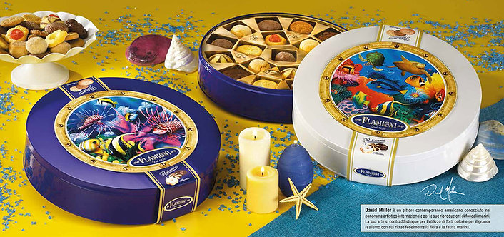 """The """"Reef"""" Tins filled with Fine Tea Biscuits Flamigni"""