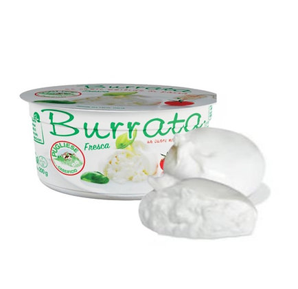 100% Cow Milk Italian Burrata Pugliese Apulia 125 gr x 8 pcs  - 1kg