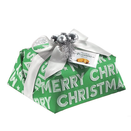 """The """"MERRY CHRISTMAS"""" Green Luxury Hand Wrapped Panettone 1kg"""