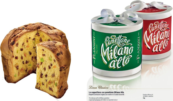 Luxury Classic Tall Panettone Milano in Gift Hat Box - 1kg