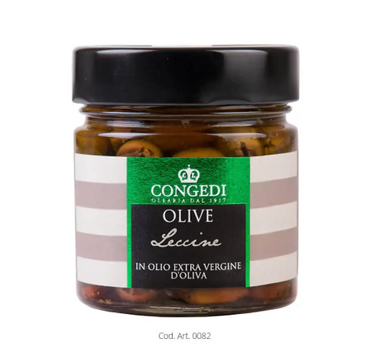 """Italian  Pitted Olives """"Leccine"""" in Extra Virgin Olive Oil"""