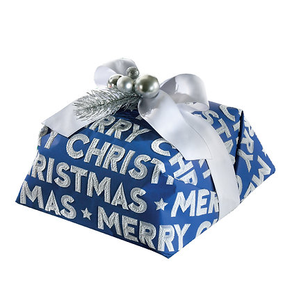 """The """"MERRY CHRISTMAS"""" Blue Hand Wrapped Luxury Panettone 1kg"""