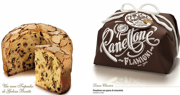 Panettone Hand Wrapped with Chocolate Drops Flamigni 1Kg