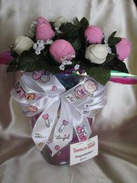 BABY GIRL BOUQUET CHOCOLATE STRAWBERRY ROSES