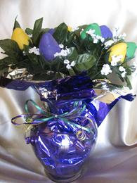 MARDI GRAS CHOCOLATE COVERED STRAWBERRY ROSE BOUQUET