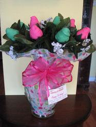 PINK AND GREEN VANILLA CHOCOLATE COVERED STRAWBERRY ROSES