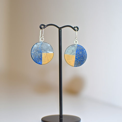Lapis, ophite and jasper earrings