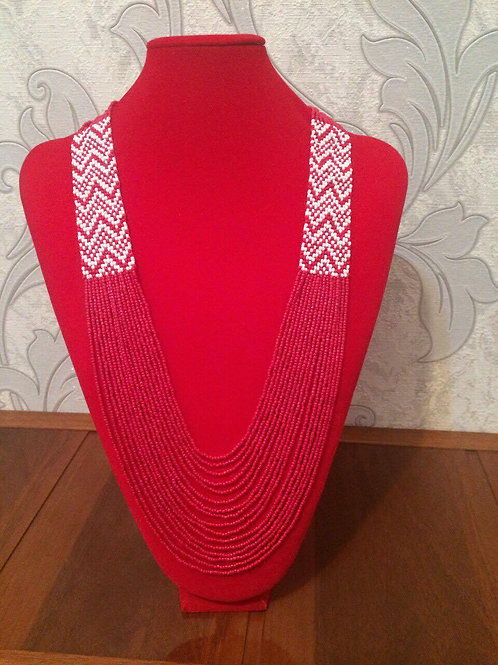 Red & White Ikat Beaded Necklace