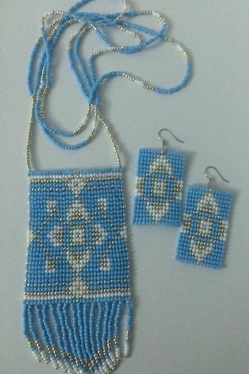 Light blue pendant necklace set
