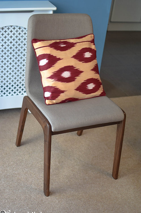 Red and beige handwoven, handmade ikat cushion cover