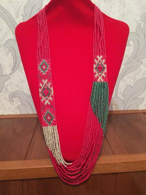 Red, green and golden necklace