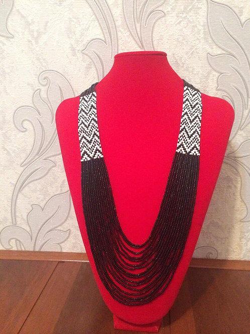 Black & White Ikat Beaded Necklace