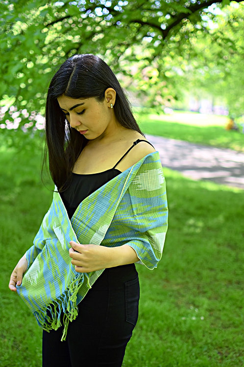 Soft green ikat handwoven scarf