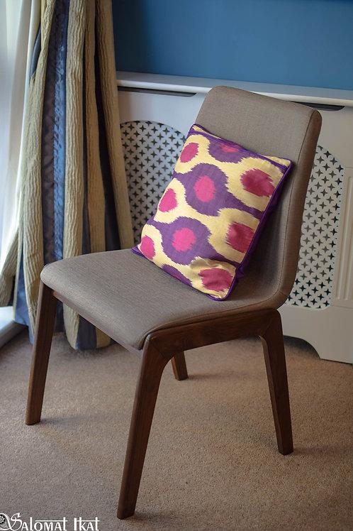 Purple handmade, handwoven ikat cushion