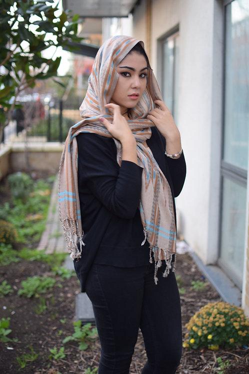 Tender beige silk blend scarf