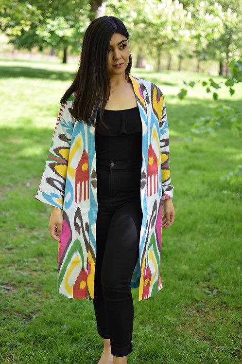 Colourful boho-style silk ikat chapan or kaftan
